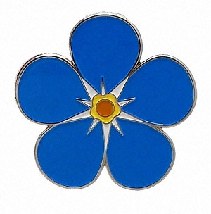 Forget-Me-Not Flower Silver Adhesive Car Emblem or Car Badge Metal