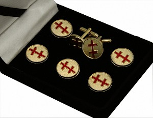 Scottish Rite: 33rd Degree Salem Cross Button Cover & Cufflink Set