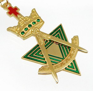 Allied Masonic Degrees Past Sovereign Master Jeweled and Gold Plated Breast Jewel - AMD Regalia