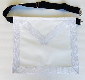 "Deluxe Masonic Member Lodge Apron All White Lambskin with 1.5"" Inch Moire Border Masonic Uniform"