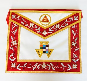 Past High Priest Royal Arch Mason Apron on Leather with Bullion Floral Border York Rite of Freemasonry Uniform
