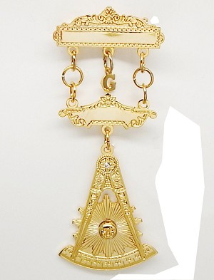 Past Master Jewel Without Square With Stone | Masonic Blue Lodge Jewels