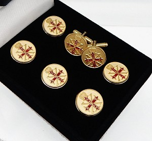 Red Cross of Constantine Past Soverign Master Button Cover and Cufflink 7 Piece Set