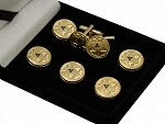 Scottish Rite: A.A.S.R. 32nd Degree Double Headed Eagle Button Cover & Cufflink Set