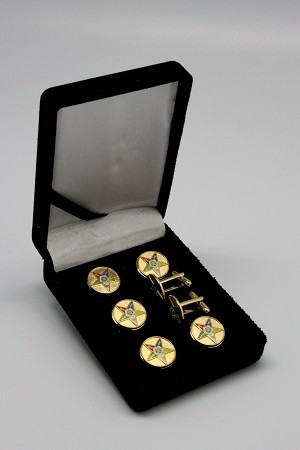 OES: Order of the Eastern Star 5 Pointed Star Tuxedo Stud Set & Cufflinks