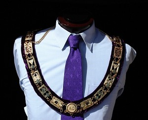 Cryptic Council Officer Collar Deluxe Purple Velour Metal | York Rite of Freemasonry Officer Collar
