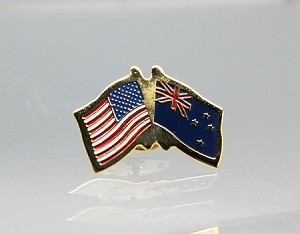 US/New Zealand Friendship Flag Lapel Pin