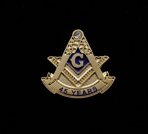 45 Year Masonic Anniversary Lapel Pin