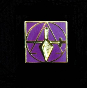 "Cryptic Council Member Purple Lapel Pin 3/8"" Trowel Sword and Triangle"