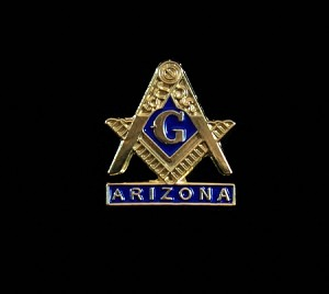 Masonic Square and Compass ARIZONA 0.75 Inch Stamped Lapel Pin