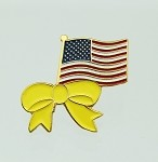 American Flag Pin with Yellow Ribbon Support the Troops 1 inch Pin | Patriotic Pins