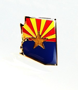 Arizona State Flag Shaped Stamped Epoxy Lapel Pin | State Flag Pins