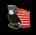 American Flag with Eagle Lapel Pin