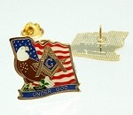 Masonic Square and Compass American Flag Eagle Under God Cloisonne Lapel Pin | Masonic Lapel Pins | Patriotic Lapel Pins