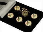 O.E.S.: Order of the Eastern Star 5 Pointed Star Button Cover & Cufflink Set
