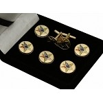 OES: Order of the Eastern Star Past Patron Button Cover and Cufflinks Set | Masonic Button Covers