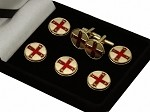 York Rite: Red Cross of Constantine (RCC) Button Cover and Cufflink Set