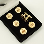 Scottish Rite 33rd Degree Double Headed Eagle and Crown Button Cover and Cuff Link 7 Piece Set