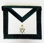 AMD Member Leather and Green Velour Apron Allied Masonic Degree