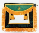 AMD Past Sovereign Master Leather Apron Allied Masonic Degree Green Velvet White Leather Adjustable Belt