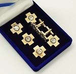 Scottish Rite Grand Cross Tuxedo Studs and Cuff Links 7 Piece Set