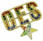 Order of the Eastern Star Jeweled Rhinestone Brooch
