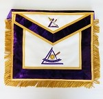 Cryptic Council Past Illustrious Master Leather Apron with Gold Fringe Past Thrice York Rite of Freemasonry