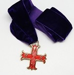 Red Cross of Constantine Member Jewel on Velour Purple Velcro Ribbon