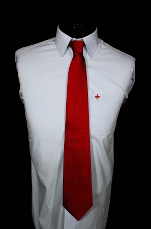 Red Cross of Constantine Black on Red Necktie