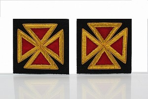 "Grand Officer Sleeve Crosses 2.0"" - Bullion: Knights Templar Uniform Accessories"