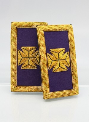 Past Grand Commander Epaulettes (Shoulder Boards) - Bullion: Knights Templar Uniform Accessories