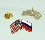 US/Russia Friendship Flag Lapel Pin