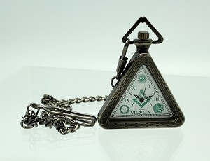 Masonic Triangle Pocket Watch- green numerals and dial